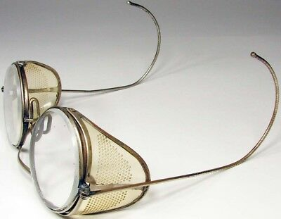 ANTIQUE Motorcycle Goggles with Brass Frames, Good Condition