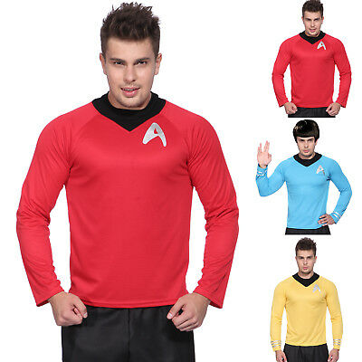 Gents Star Trek Shirt Fancy Dress Scotty Kirk Spock Sci Fi Mens Costume Outfit