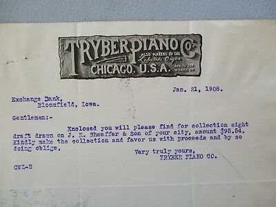 1908 Lakeside Organ,Tryber Piano MFG.,Letter