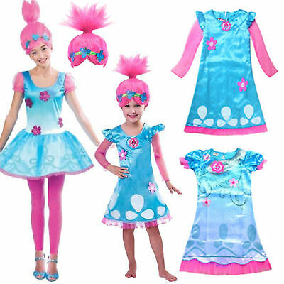 Women Girl Fancy Dress Wig Trolls Poppy Costume Child Cosplay Party Outfit Sets