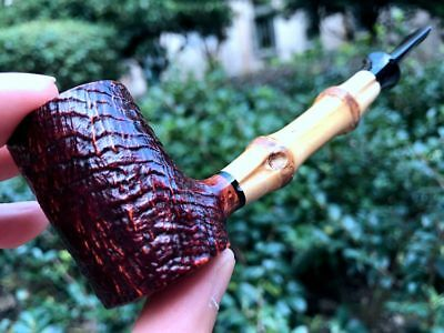 Road Town pipe,Briar wood pipe Poker Bamboo Style---- unsmoked
