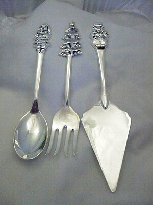 NIB International Silversmiths 3 pc Christmas serving set tree, snowman & Santa