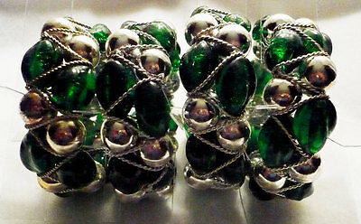 NIB set of 4 green & silver beaded napkin rings