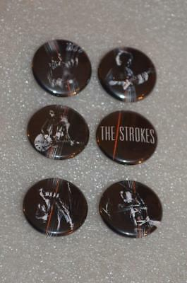 """THE STROKES Set Of 6 US Promo Pins Pinbacks Badges Buttons 1"""" Each MINT"""