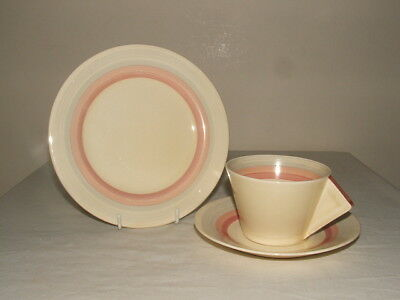 Clarice Cliff Art Deco Bizarre Pink Banded Conical Tea Trio Truly  Stunning
