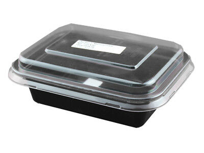 50 Menüschalen mit Deckel schwarz 800 ml Take Away Food to go (544150+544151)