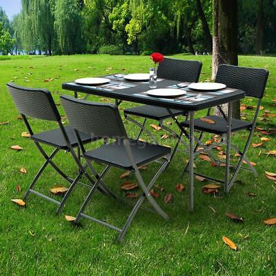 iKayaa 5PCS Folding Camping Picnic Table & Chair Set Garden Furniture Set R6R6