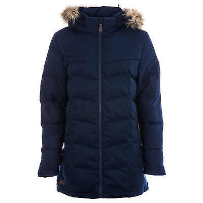 Womens Trespass Reeva Down Parka Jacket In Navy Marl From Get The Label