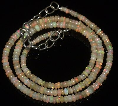 30 Ctw 2-3.5 Mm 17 Natural Genuine Ethiopian Welo Fire Opal Beads Necklace-R6565