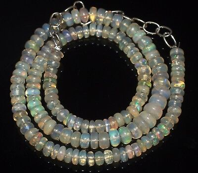 69 Ctw 5-7 Mm 16 Natural Genuine Ethiopian Welo Fire Opal Beads Necklace-R6543