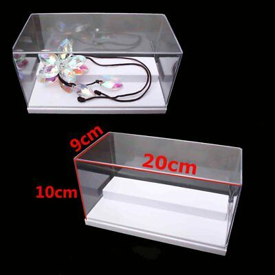"""Clear Acrylic Display Box 8"""" Perspex Case Plastic 2 Steps White Dustproof Tray"""