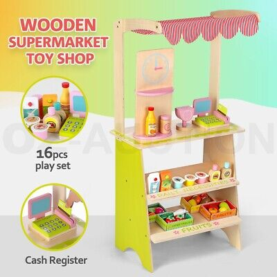 Kids Wooden Marketplace Stand Supermarket Toy Shop Stall Pretend Play w/ Awning