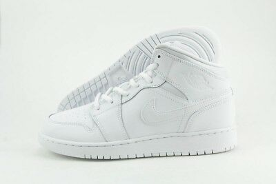 Nike Air Jordan 1 Mid BG 554725-110 White Leather Retro Shoes Medium Youth