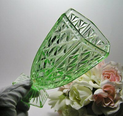 Vintage Depression CROWN CRYSTAL GLASS Green VASE ~ PANELS and CROSSES c1930