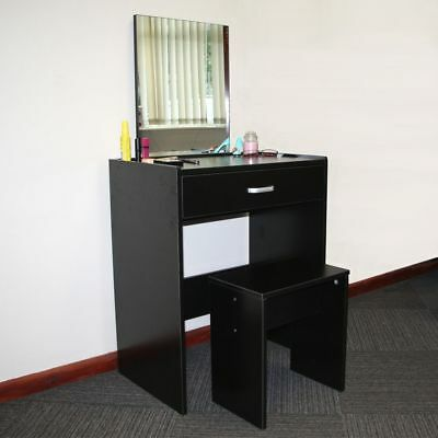 Dressing Table Black + Stool + Mirror - Bedroom Vanity Make Up Set