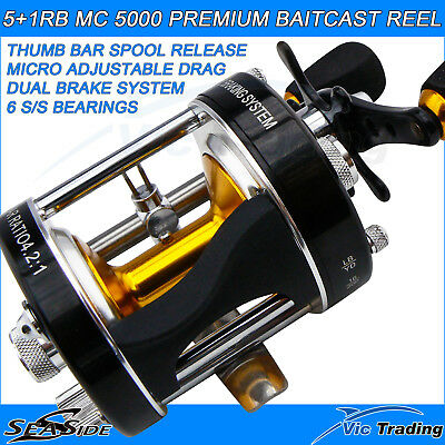 Seaside Mc 500 Black 5+1Rd Ss Series L/w Overhead Baitcaster Fishing Reel