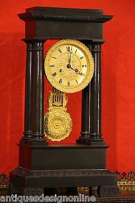 Superb antique French Empire bronze CLOCK gold gilt ormolu working 4 column 1825
