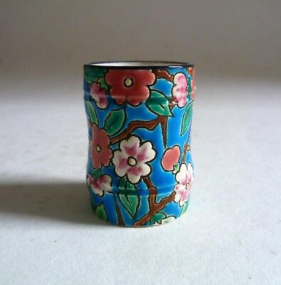 LONGWY Pottery France Antique Small Bamboo VASE Toothpick Holder