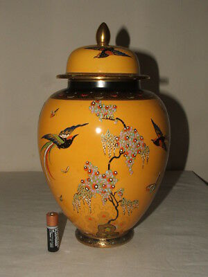 Carlton Ware Art Deco Yellow Paradise Bird & Tree Large Temple Jar  So Rare