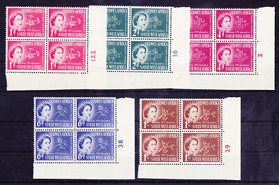 SOUTH WEST AFRICA 1953 Mint NH Complete Set in Plate Blocks of 4 SG #149-153 VF