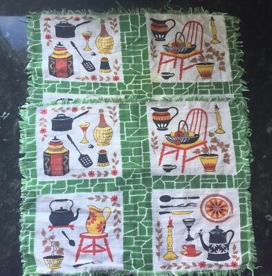 Pair Of Vintage 60s Kitchen Place Mats/Table Settings