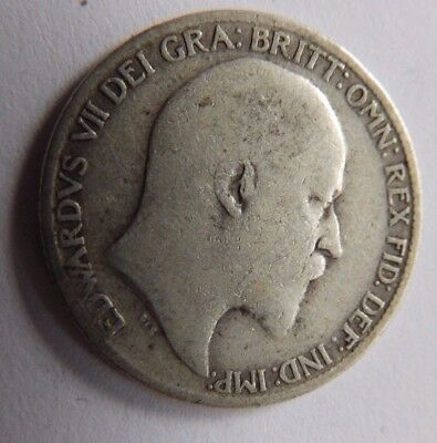 Antique Edward VII Silver Sixpence  - 1910