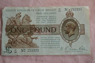 Warren Fisher Treasury Banknote One Pound A1/20 753323 Rough note but lovable