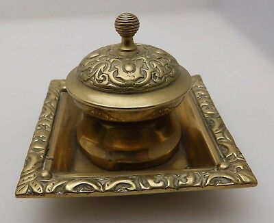 Vintage Brass Desk Top Ink Well / Inkwell