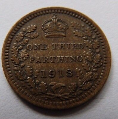 Antique George V One Third Farthing Coin  - 1913