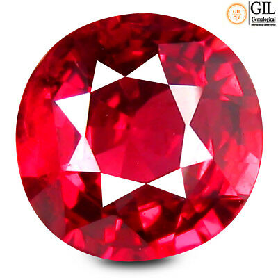 1.19 ct GIL Certified Round (6 x 6 mm) Un-Heated Tanzania Vivid Red Ruby
