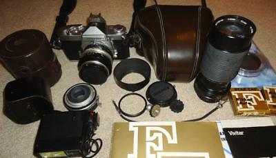 VINTAGE NIKON NIKKORMAT FT 35mm CAMERA PACKAGE, 1:1.4 50mm LENS w/ EXTRAS