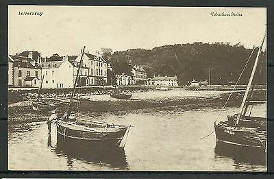 Postcard : Inverary Hotels on the front with fishing boats in harbour