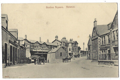 NEWTOWN ST BOSWELLS Station Square Showing Railway Hotel, RP Postcard Sent 1908