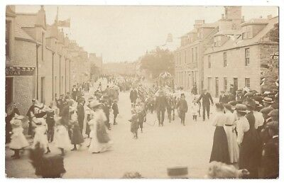 PORTSOY Street Parade or Procession, RP Postcard Postally Used 1911