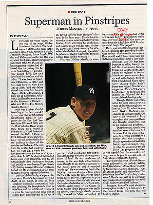 """1995 Mickey Mantle """"Superman In Pinstripes"""" Obituary Photo Article"""