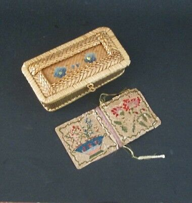 Antique Needle Case & Shaker Basket Early Paper Punch Work Woolwork
