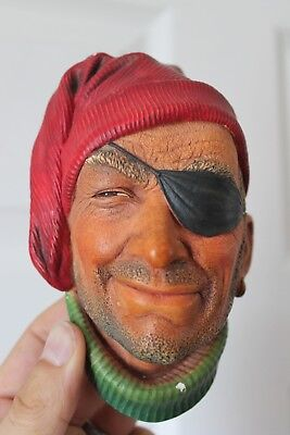 """BOSSONS 6x4"""" SMUGGLER PIRATE 1x Eyed MAN Vintage Wall Plaque CHALKWARE Eye Patch"""