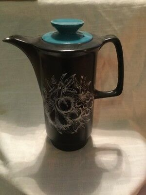 "Vintage Crown Devon (Fieldings) ""Harlequin"" Coffee Pot With Turquoise Lid"