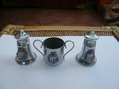 Vintage 1950,s Chrome Plated 3 Piece Cruet Set Douglas Isle Of Man Enamel Crest