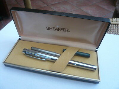 Vintage Nice Quality 1970,s Sheaffer Silver Fountain Pen Usa White Dot Boxed