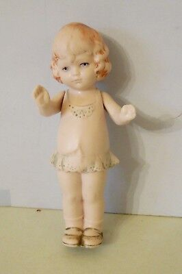 "Pretty 5"" All Bisque German Little Girl Doll"