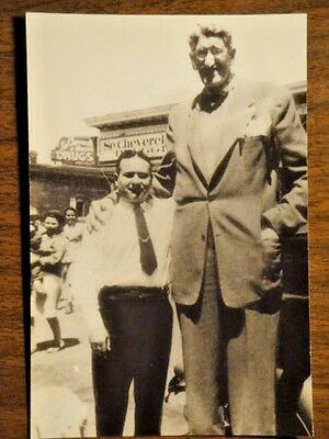 Rppc Of Circus Giant Jack Earle With Chubby Aiello Of Patsy's Inn In Denver Co