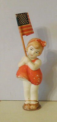 "Pretty 3 1/2"" All Bisque Girl Doll Holding American Flag Made In Germany"