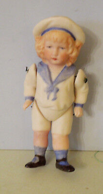 "Very Nice 5"" All Bisque Sailor Boy Doll, Looks To Be German"