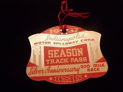 Rare Indy 500 1937 Season Track Pass IMS Race Day Indianapolis Speedway !!