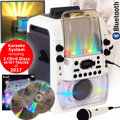 Bluetooth Light Up Party Karaoke Machine Inc 2 Microphones & 2 x CD+G Discs 2017