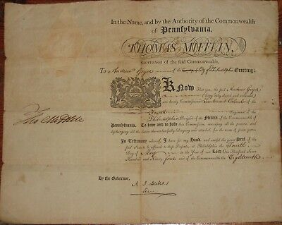 1794, Gov. Thomas Mifflin, signed military commission, archive,Lt. Colonel Geyer