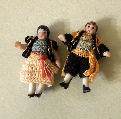 "Two 1 1/2"" All-Bisque Man & Lady Dolls With Crocheted Outfits"