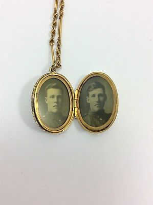 9ct Gold Sweetheart Locket with 2 Military Photos Brothers WWI/WWII Momento Mori