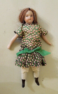 "Cute 5 1/2"" Bisque Head Girl Doll Made In Germany"